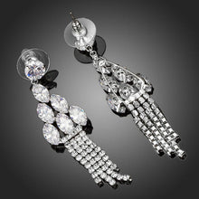 Load image into Gallery viewer, Water Drop Clear Cubic Zirconia Earrings -KPE0099 - KHAISTA Fashion Jewellery