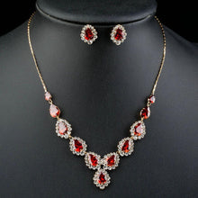 Load image into Gallery viewer, Water Drop Merlot Necklace & Stud Earrings Set - KHAISTA Fashion Jewellery