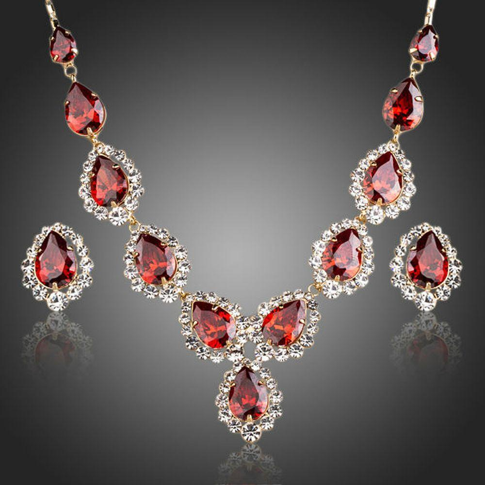 Water Drop Merlot Necklace & Stud Earrings Set - KHAISTA Fashion Jewellery