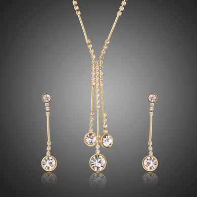 Water Drop Necklace Drop Earrings Party Jewelry Set - KHAISTA Fashion Jewellery