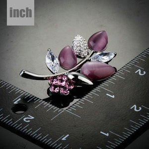 White and Pink Leaf Pin Brooch - KHAISTA Fashion Jewellery