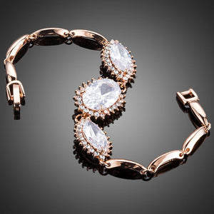 White Cubic Zirconia Link Chain Bracelet - KHAISTA Fashion Jewellery