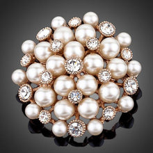 Load image into Gallery viewer, White Flowery Pearl Designer Pin Brooch - KHAISTA Fashion Jewellery