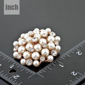 White Flowery Pearl Designer Pin Brooch - KHAISTA Fashion Jewellery