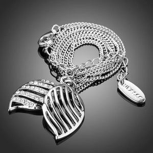 White Gold Angel Wings Stellux Austrian Crystals Pendant Necklace - KHAISTA Fashion Jewellery