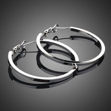 Load image into Gallery viewer, White Gold Classic Hoop Earrings -KPE0023 - KHAISTA Fashion Jewellery