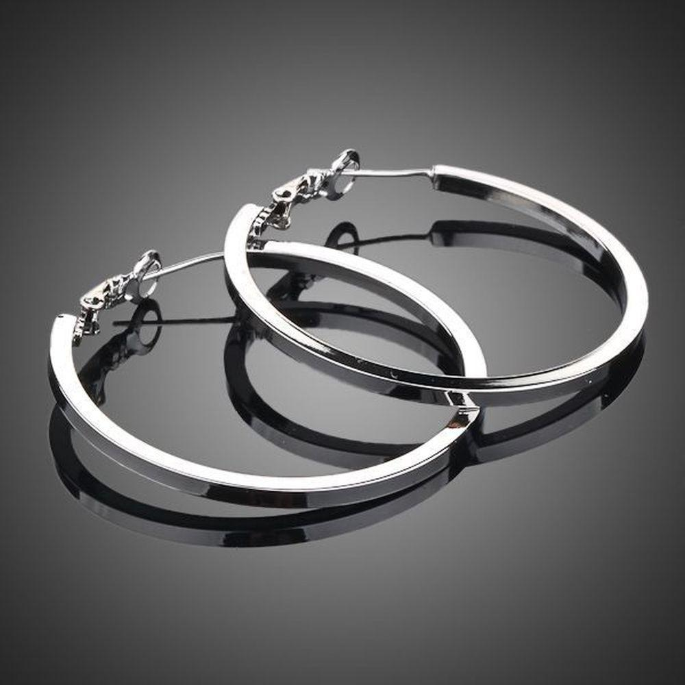 White Gold Classic Hoop Earrings -KPE0023 - KHAISTA Fashion Jewellery