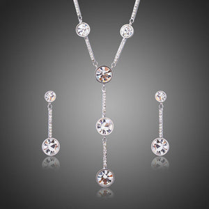 White Gold Classic Y Style Clear Crystal Jewelry Set - KHAISTA Fashion Jewellery