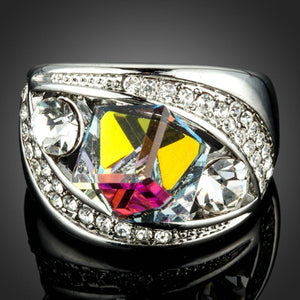 White Gold Color Cubic Color-change Crystal Ring - KHAISTA Fashion Jewellery
