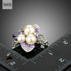 White Gold Color Purple Cubic Zirconia Stimulated Pearl Flower Brooch - KHAISTA Fashion Jewellery