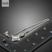 Load image into Gallery viewer, White Gold Color Quadrilateral Bowknot Crystals Long Link Chain Necklace KPN0202 - KHAISTA Fashion Jewellery