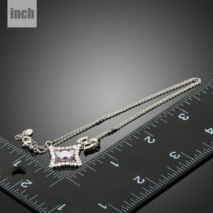 White Gold Color Quadrilateral Bowknot Crystals Long Link Chain Necklace KPN0202 - KHAISTA Fashion Jewellery