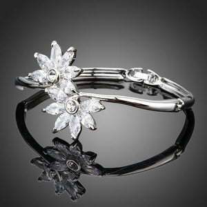 White Gold Cubic Zirconia Flower Bangle -KBQ0043 - KHAISTA Fashion Jewelry