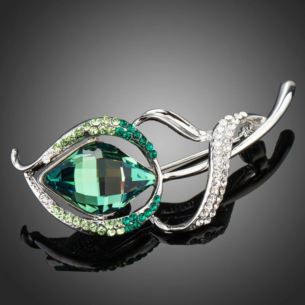 White Gold Flower Shape Brooch With Green Crystals - KHAISTA Fashion Jewellery