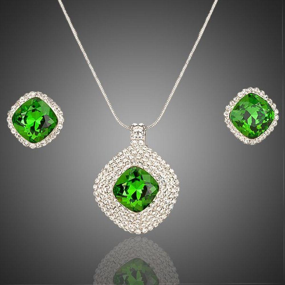 White Gold Green Rectangular Stellux Crystal Hoop Earrings and Necklace Set - KHAISTA Fashion Jewellery