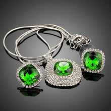 Load image into Gallery viewer, White Gold Green Rectangular Stellux Crystal Hoop Earrings and Necklace Set - KHAISTA Fashion Jewellery