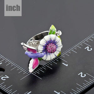 White Gold Hummingbird Ring -KFR0016 - KHAISTA
