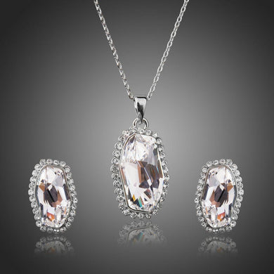 White Gold Irregular Cut Clear Austrian Crystal Jewelry Set - KHAISTA Fashion Jewellery