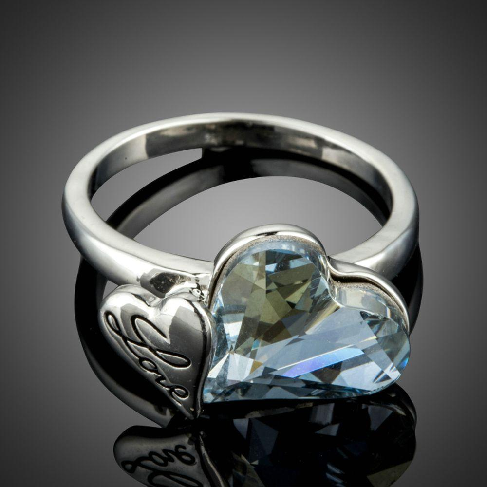 White Gold Love Double Hearts Blue Stellux Austrian Crystal Ring - KHAISTA Fashion Jewellery