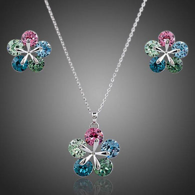 White Gold Multi Color Flower Stellux Austrian Necklace and Earrings Set - KHAISTA Fashion Jewellery
