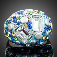 Load image into Gallery viewer, White Gold Multicolor Crystal Ring -KFR0019 - KHAISTA