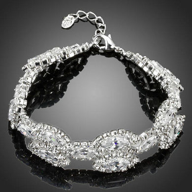 White Gold Plated Cubic Zirconia Tennis Bracelet - KHAISTA Fashion Jewellery