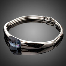 Load image into Gallery viewer, White Gold Plated Geometric Crystal Bangle - KHAISTA Fashion Jewellery