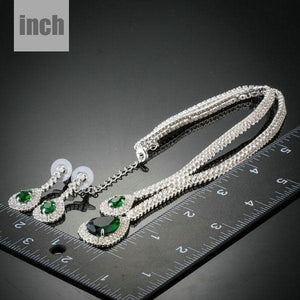 White Gold plated Green Bridal Jewelry Set - KHAISTA Fashion Jewellery