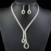 Load image into Gallery viewer, White Gold plated Green Bridal Jewelry Set - KHAISTA Fashion Jewellery