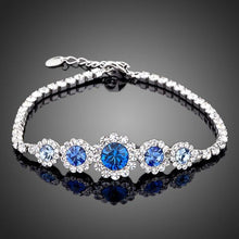 Load image into Gallery viewer, White Gold Plated Navy Blue Crystal Bracelet - KHAISTA Fashion Jewellery