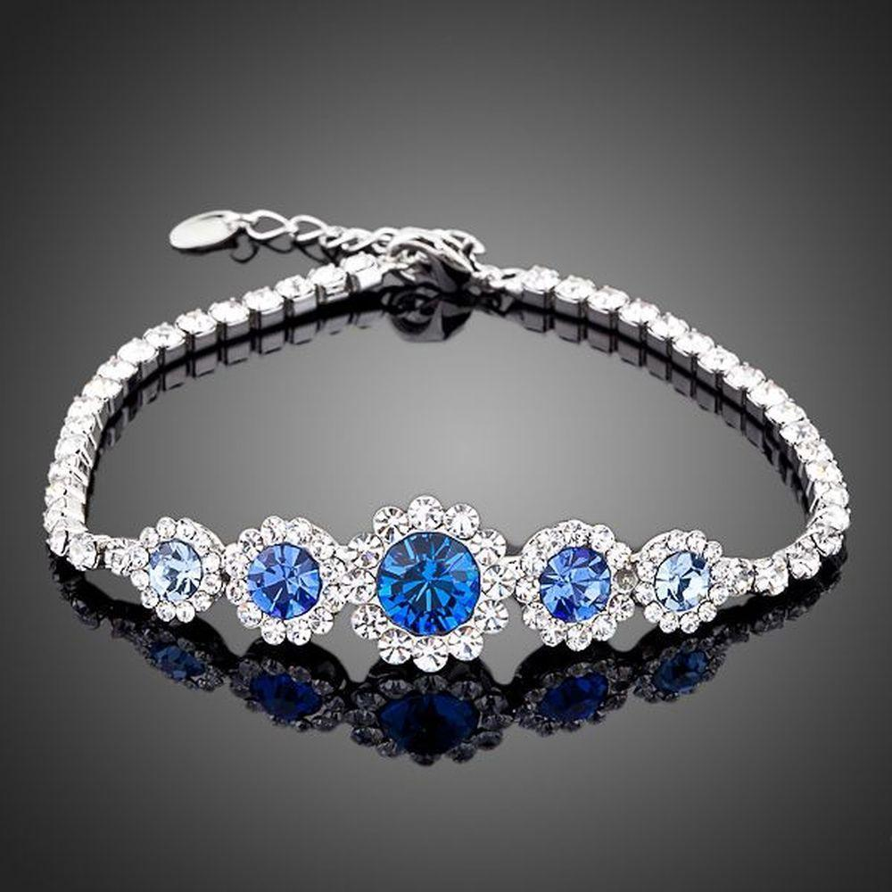 White Gold Plated Navy Blue Crystal Bracelet - KHAISTA Fashion Jewellery