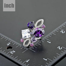 Load image into Gallery viewer, White Gold Purple Crystal Ring -KFR0055 - KHAISTA