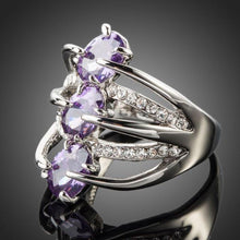 Load image into Gallery viewer, White Gold Purple Crystal Ring -KFR0089 - KHAISTA