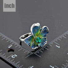 Load image into Gallery viewer, White Gold Sea Blue Flower Ring -KFR0021 - KHAISTA