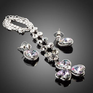White Gold Stellux Austrian Crystal Heart Drop Earrings and Flower Pendant Set - KHAISTA Fashion Jewellery