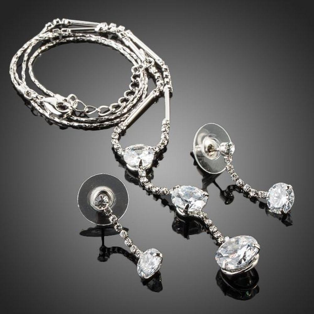 White Gold Stellux Austrian Crystal Water Drop Earrings and Necklace Jewelry Set - KHAISTA Fashion Jewellery