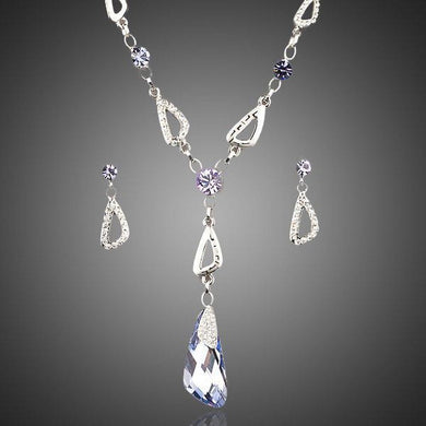 White Gold Stellux Drop Earrings and Water Drop Cubic Zirconia Necklace Set - KHAISTA Fashion Jewellery