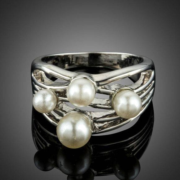 White Golden and Simulated Pearl Finger Ring - KHAISTA Fashion Jewellery