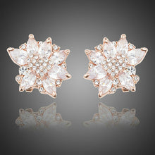 Load image into Gallery viewer, White Rose Cubic Zirconia Stud Earrings - KHAISTA Fashion Jewellery