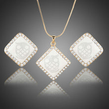 Load image into Gallery viewer, White Square Owl Print Necklace + Earrings Set - KHAISTA Fashion Jewellery