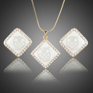 White Square Owl Print Necklace + Earrings Set - KHAISTA Fashion Jewellery