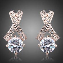 Load image into Gallery viewer, X Charm Crystal Stud Earrings - KHAISTA Fashion Jewellery