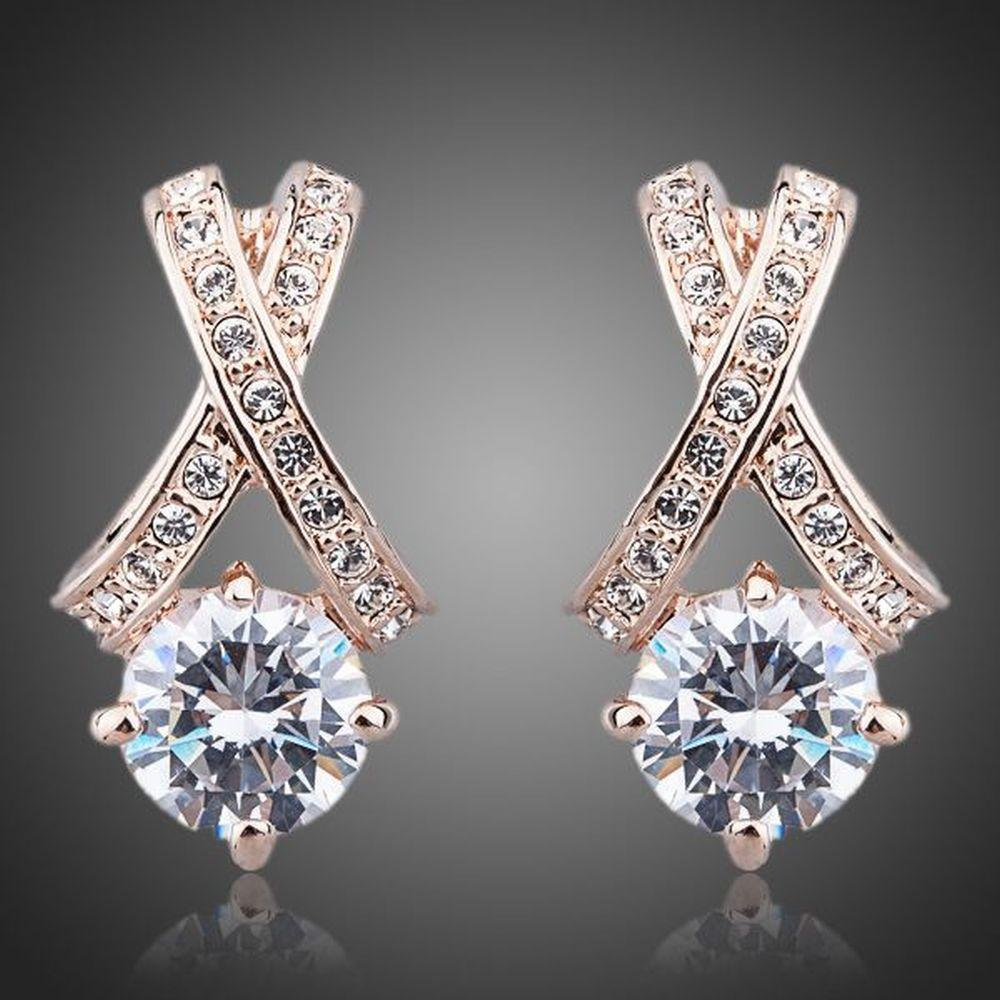 X Charm Crystal Stud Earrings - KHAISTA Fashion Jewellery