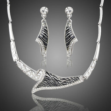 Zebra Drop Earrings & Pendant Necklace Set - KHAISTA Fashion Jewellery