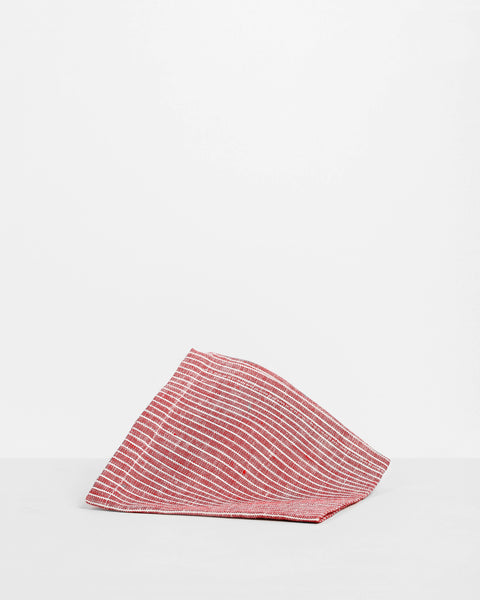 Linen Cocktail Napkin - Red Stripe
