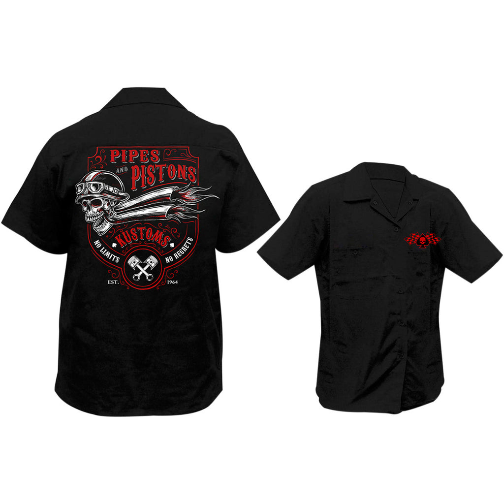 Lethal Threat Pipes N Pistons Screen Printed Workshirt