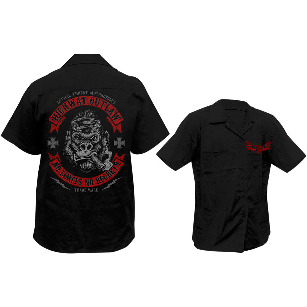 Lethal Threat No Limits Gorilla Screen Printed Workshirt