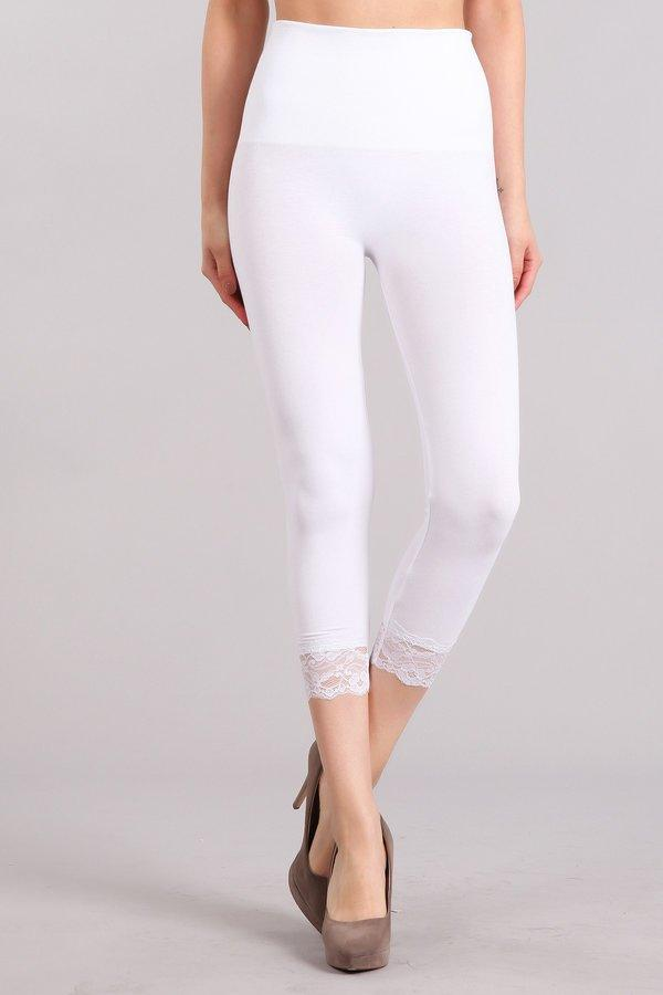 High Waist Crop Legging with Lace Trim - dolly mama boutique
