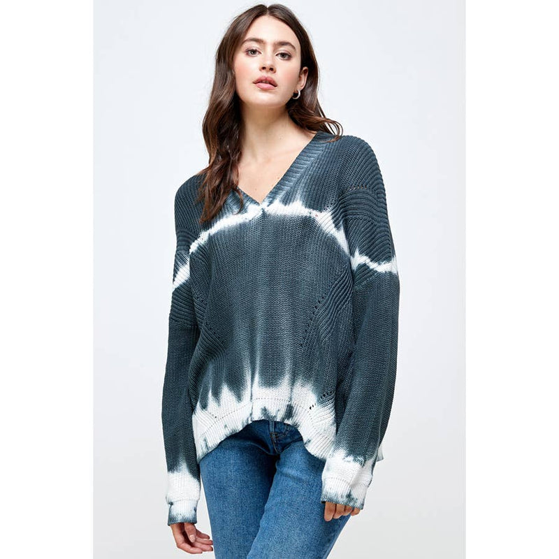 Tie Dye Striped Cotton Sweater
