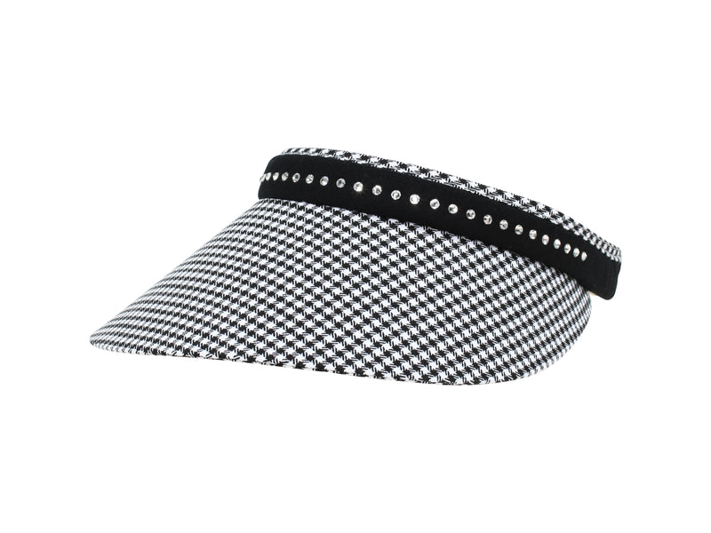 Marilyn Clip-On Visor, Houndstooth - dolly mama boutique